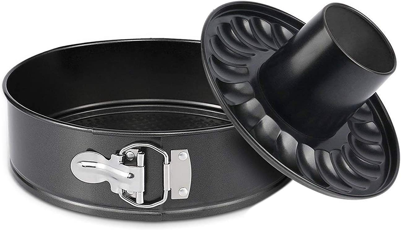 9 Inch Springform Pan and Bundt Pan,Non-stick Cheesecake Pan and Ice-cream Cake Bakeware, Carbon Steel Tube Pan 2 in 1 with Removable Bottom and Quick-Release Latch