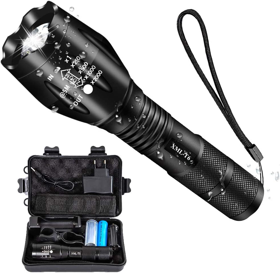Tactical Flashlight LED Zoomable XM-L2 3000 LUMENS 2X Battery 18650 Rechargeable
