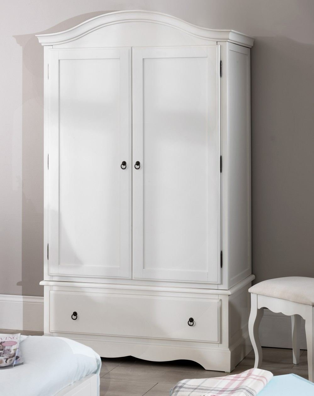 romance double wardrobe stunning french antique white wardrobe with large drawer antique white amazoncouk kitchen home - White Wardrobe