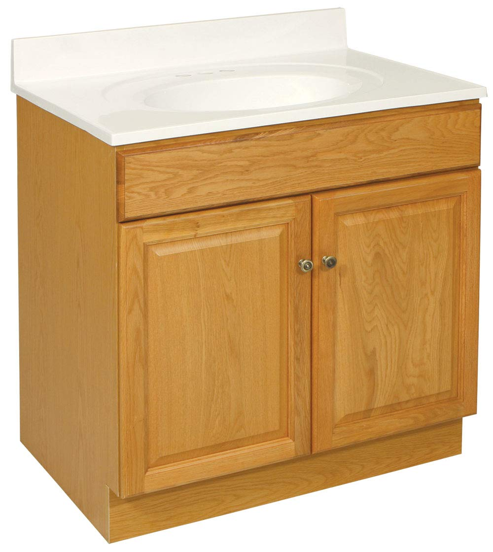 Design House 531988 Claremont Ready-To-Assemble 2 Door Vanity, Honey Oak, 24-Inch by 18-Inch - Clean lines and concealed hinges Measures 24-inches by 18-Inches by 30-inches Modern construction meshes with subtle vintage details - bathroom-vanities, bathroom-fixtures-hardware, bathroom - 61x72QUgu3L -