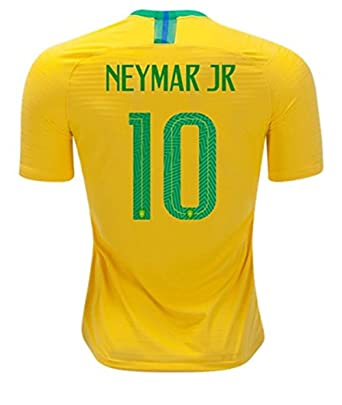 Image Unavailable. Image not available for. Color  2018 Russia World Cup  10  Neymar JR Brazil National Team Home Mens Soccer Jersey Color f16ef9d54