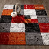 Cheap City Collection Contemporary Sculpted Effect Faded Geometric Checkered  Red Orange Area Rug – 5×7 (5'3″ x 7'3″)