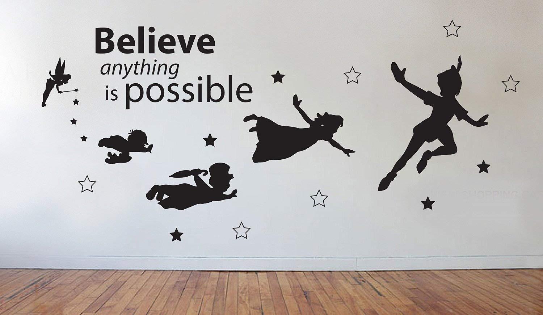 TheStickerStop, motivo Peter Pan e scritta Friends ', motivo' anything is possible-Adesivi da parete per la camera dei bambini-Wall Art, Medium - 740mm x 1580mm motivo Peter Pan e scritta Friends