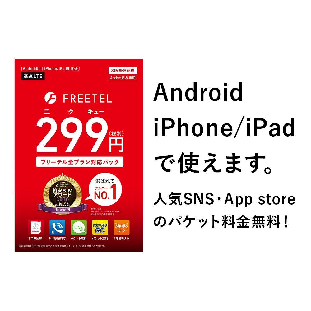 【FREETEL SIMカード】299円 全プラン対応パック データ通信/音声通話(ナノ/マイクロ/標準SIM)
