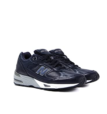 35fcd4db9c9 New Balance 991 Made in England Navy Leather Trainers: Amazon.co.uk ...