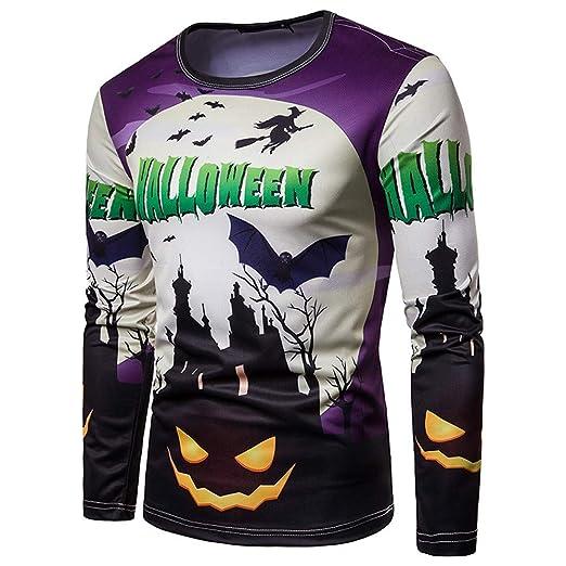 d34fab6188ee Amazon.com  Elogoog Mens Long Sleeve Pumpkin Blouse Casual Slim Fit Printed  Halloween Pullover Hipster Men t Shirt  Clothing