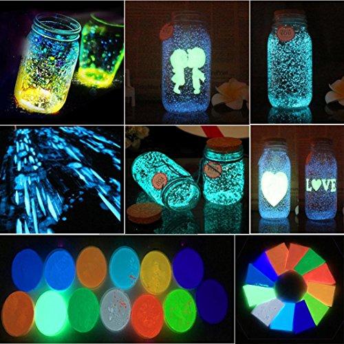 Luminous Powder, Elevin(TM) Glow In Dark Sand Colorful Fluorescent Super Luminous Glow Pigment Bright Decor (Multicolor)