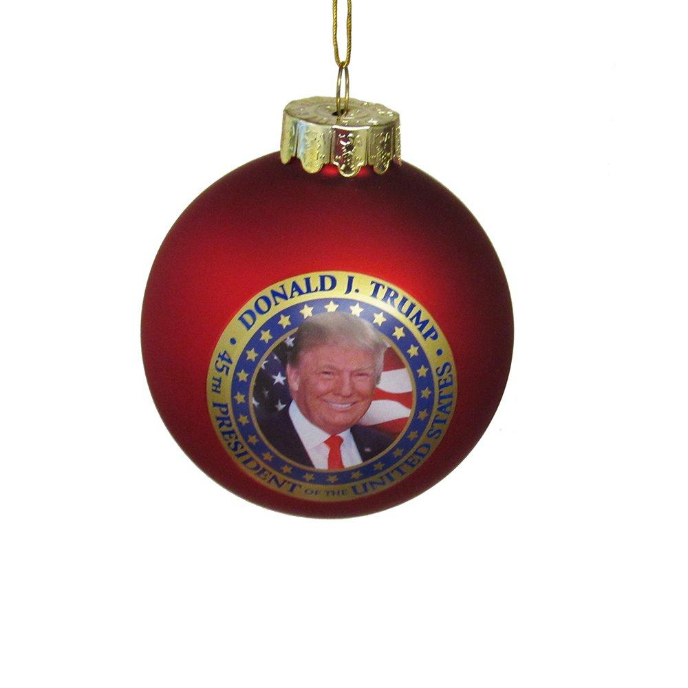 Amazon.com: Kurt Adler President Donald Trump Glass Ball Ornament ...