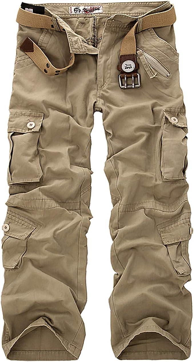 Pantalons Cargo Hommes 100/% Coton Sport Multi-Poches Epais Outdoor L/âche sans Ceinture