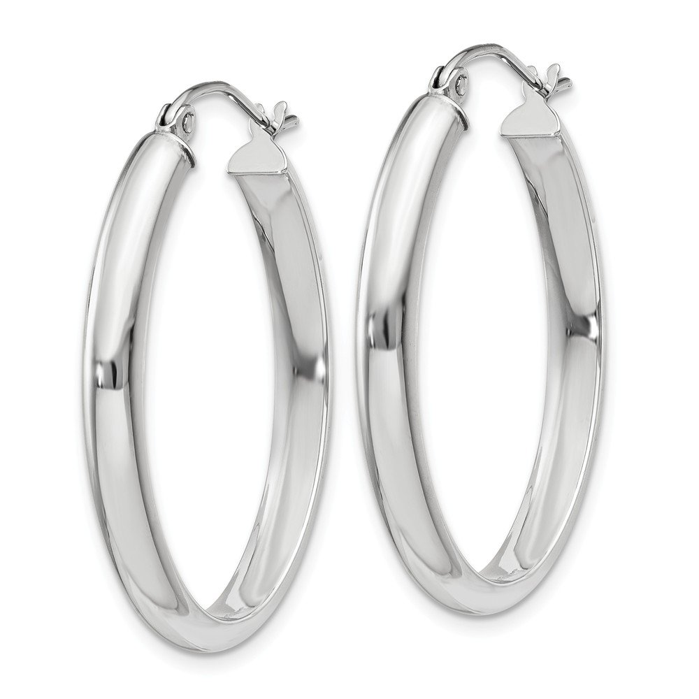 Mia Diamonds 14k White Gold Polished 3.75mm Oval Tube Hoop Earrings