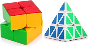 Mayatras Pyraminx Triangle Pyramid Magic Cube Puzzle Toy 2*2 Stickerless Cube (2 Pieces) - Multi Color