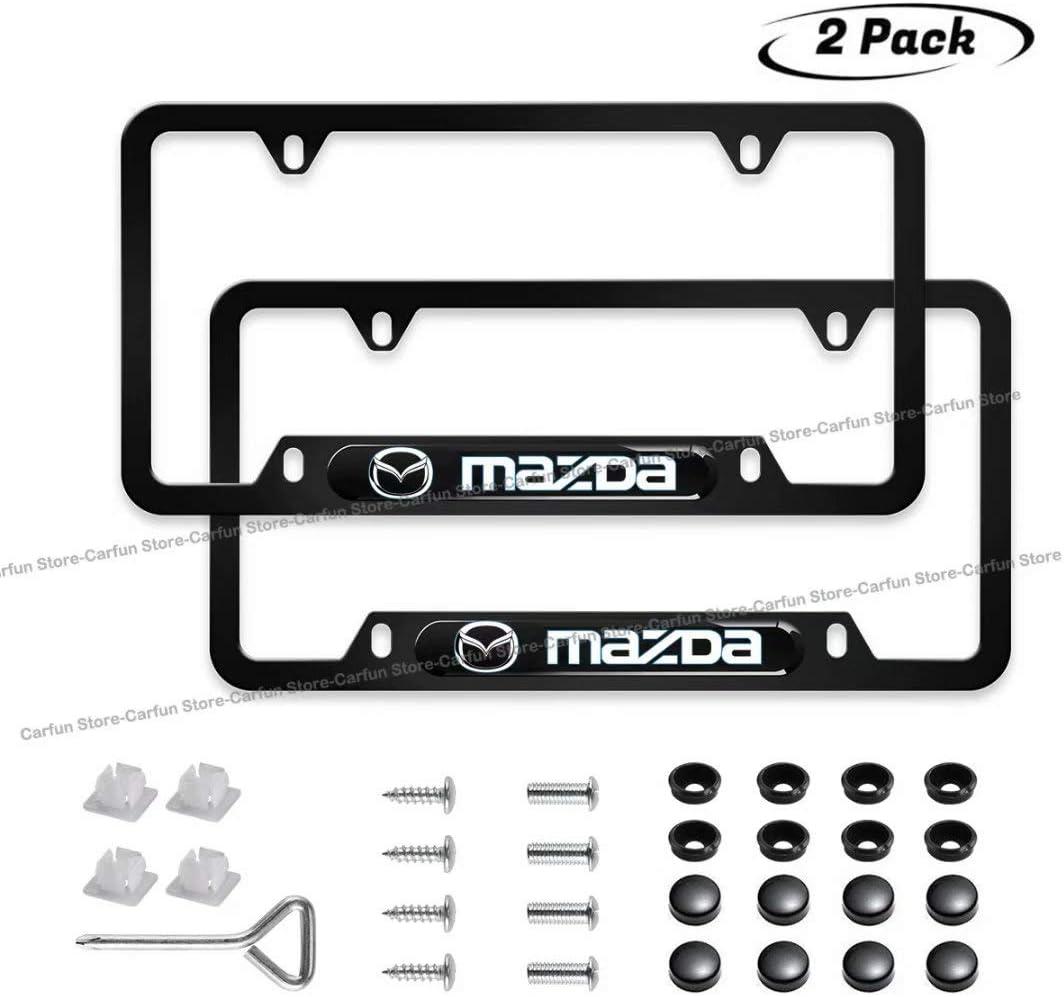 Carfun 2pcs for License Plate Frame,Black Matte Aluminum License Plate with Screw Caps Upscale Black License Plate Frame for Front and Rear License Plate fit A c u r a-Black
