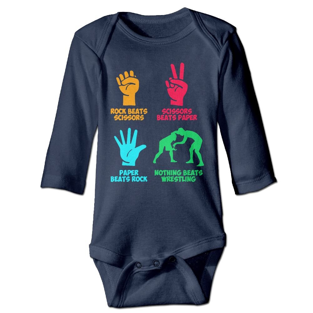 Rock Paper Nothing Beats Wrestling Baby Long Sleeve Bodysuits 18 Months