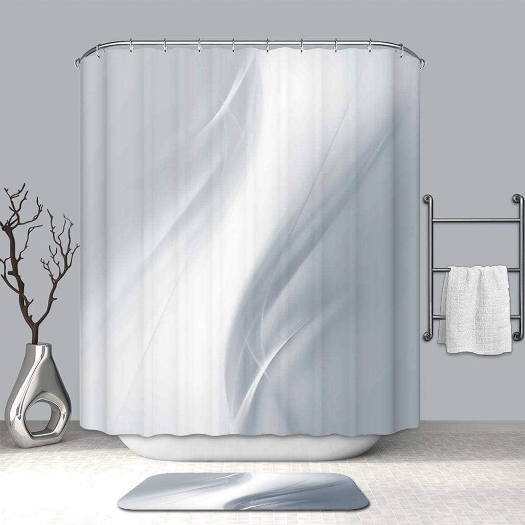 Creative cortina de ducha y alfombra de baño gris Cool fondo con forma cuadrada rejilla altavoz con diseño industrial de hierro impreso plata cortinas de baño con antideslizante piso felpudo alfombras: Amazon.es: