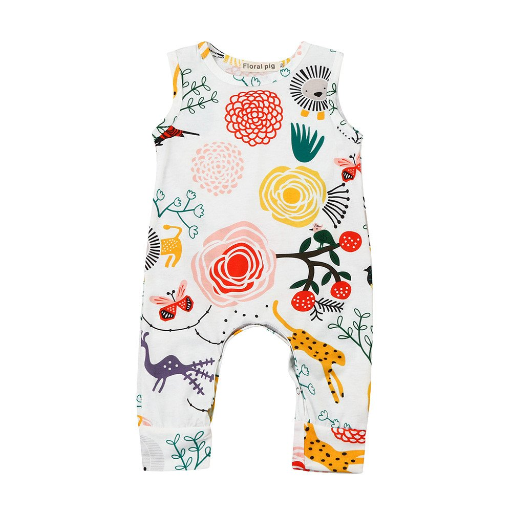 ❤️Mealeaf❤️ Baby Boys and Girls Clothes with Newborn Baby Boys Girls Flower Animal Print Romper Jumpsuit Outfits Clothe (0-6 Months Old, White) meal-leaf