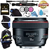 Canon EF 50mm f/1.2L USM Lens 1257B002 + 72mm 3 Piece Filter Kit + 64GB SDXC Card + Lens Pen Cleaner + Fibercloth + Lens Capkeeper + Deluxe 70 Monopod + Deluxe Cleaning Kit Bundle