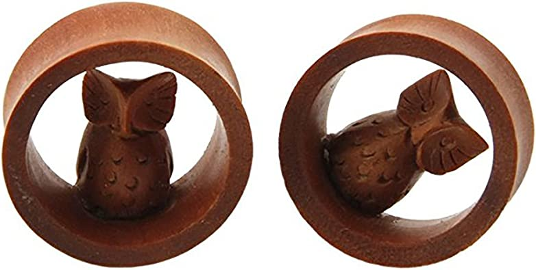 Pair of 5//8 Double Flared Carved Organic Button Design Sawo Wood Ear Plugs Gauges