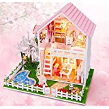 House Kit NEW DIY Wood Doll House,Cherry Trees Dollhouse, New Style Miniature Kits Assembling Toys for Kid's Christmas Gift