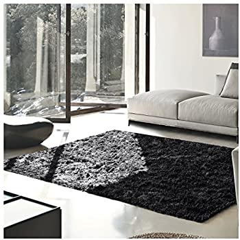 Superior Elegant Shag Rug, Plush and Cozy Hand Tufted Area Rugs, Chic and Contemporary Eyelash Shag Rug with Cotton Backing - 8' x 10' Rug, Black
