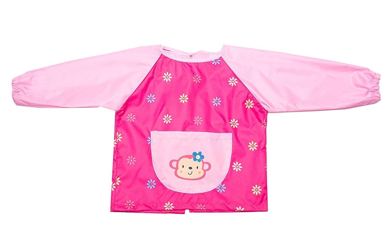 Chilsuessy Kinder Malkittel Bastelkittel Craft Schürze Bastelschürze Wasserdicht Kittel 2-10 Jahre, Pink, L/Koepergroesse 115-135cm