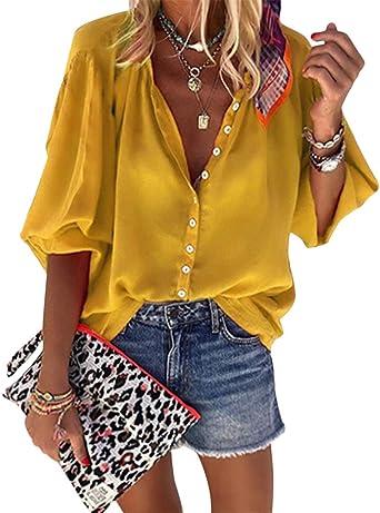 Onsoyours Mujer Casual Blusas Manga Larga Camisetas Suelta Camisa Color Sólido Cuello En V Botones Nacional Impresión Punto De Ola Talla Grande Tops