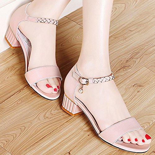 Mujer GTVERNH De Talon Salvaje Pink Sandalias Rough Mujer De Roma Zapatos Edad Mediana De Madre Y De Verano Medio EqqBrxnCw