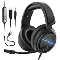 XIBERIA V20 PC Earphones,PS4 Gaming Headsets,Xbox one Game Headset,Noise Cancelling Microphone,Dazzle Colour LED Lights,Stereo Bass Surround,Compatible for Laptop, Mac, Nintendo Switch, Mobile Terminal