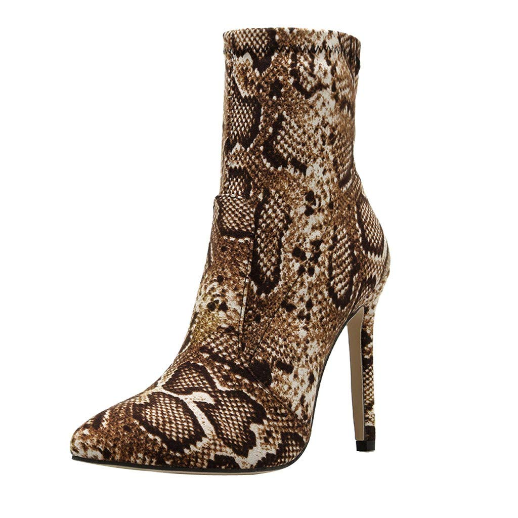 Ankle Short Boots for Women,Jchen Ladies Snakeskin Print Nightclub Boots Shoes Stiletto Heel Slip-on Short Ankle Boots Brown