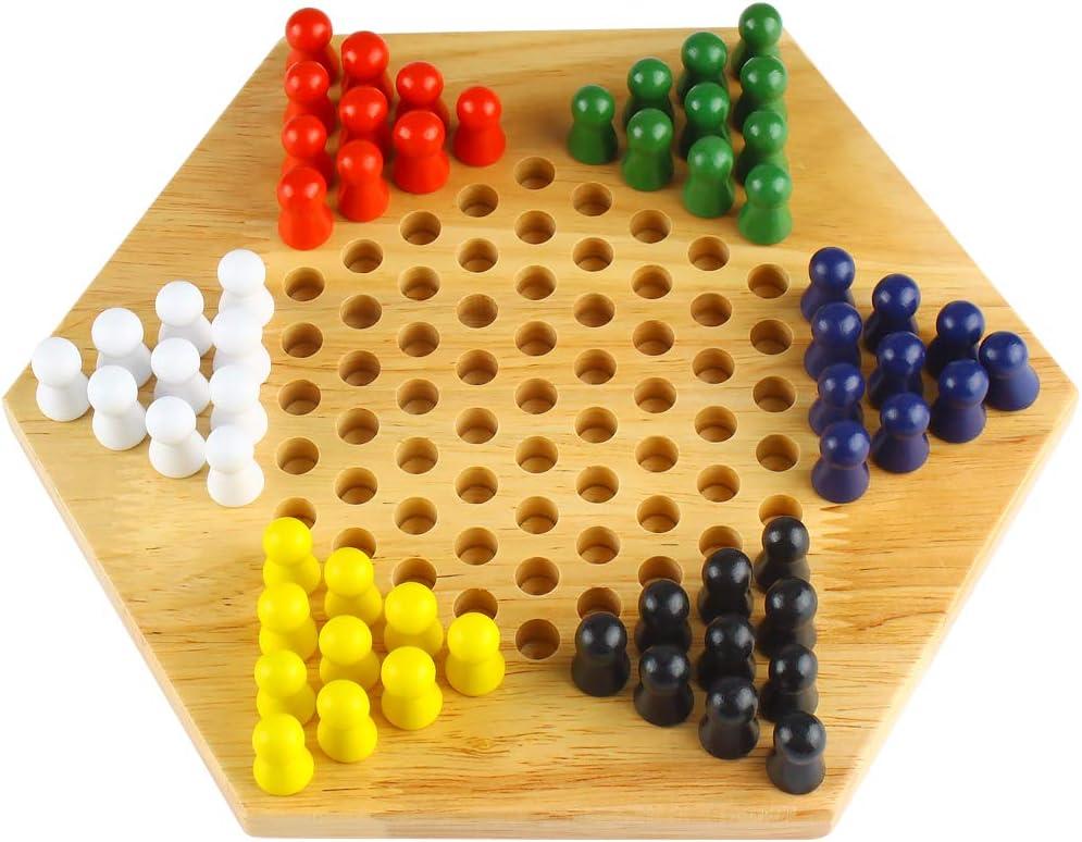 Andux Zone Damas Chinas hexagonales de Madera Juguetes educativos LJTQ-01: Amazon.es: Juguetes y juegos