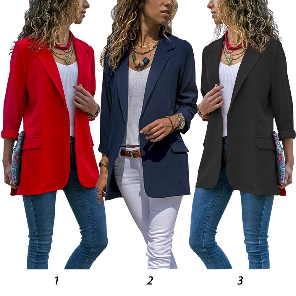 casual autunno primavera manica lunga turn-down Collar Slim casual Solid color Blazer nero Nero L donne Blazer