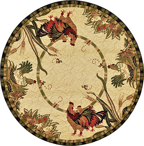 (Unique Loom Barnyard Collection French Country Cottage Roosters Cream Round Rug (8' 0 x 8' 0))