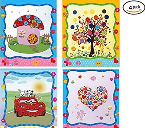 Vytung Button Painting Mosaic Sticker DIY handmade Art Kits for Kids Animal (Pack of 4) (Natural)-Tree,Mushroom (Scratch And Sniff Stickers Bulk)