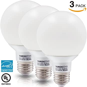 3-Pack Torchstar 7W Dimmable G25 LED Bulb