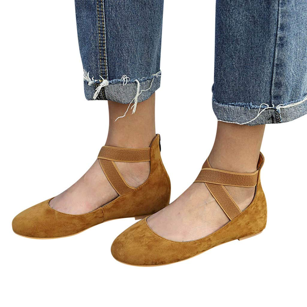 Duseedik Summer Women's Sandals Elastic Band Low Flat Heel Flip Flops Single Beach Outdoor Shoes Brown