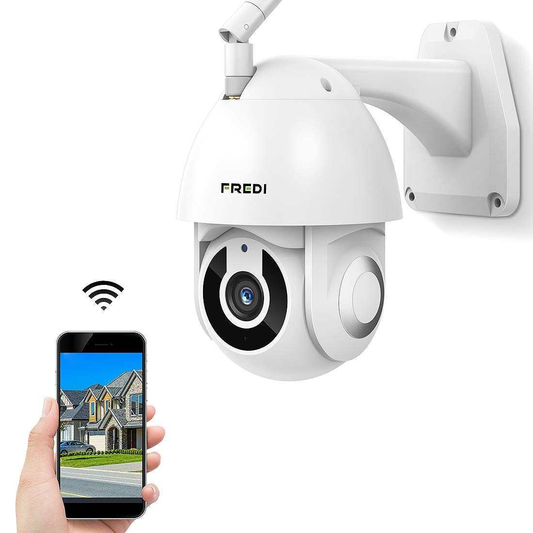 Outdoor Security Camera, FREDI 1080P HD Wireless WiFi IP Surveillance Camera with Night Vision, Two-Way Audio, Motion Detection, IP66 Waterproof, Pan/Tilt/Zoom, Work with iOS Android PC by FREDI
