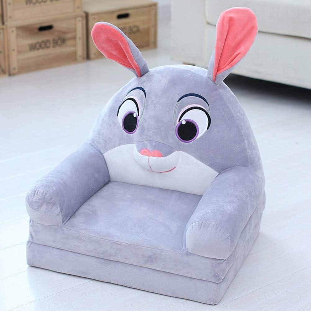 Sillón Infantil,Cartoon Plegable Sillón para niños Mini sillón con Cremallera -Gris 50x40x47cm(20x16x19)