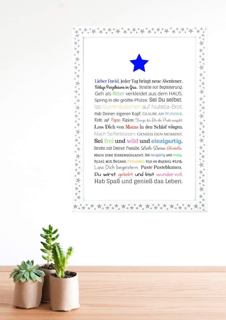 Personalisiertes Geschenk für Baby oder Neugeborene - Geschenk zur Geburt Junge oder Geburtstag | Poster A4
