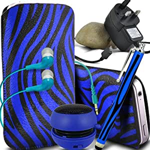 ONX3 Alcatel One Touch Idol Mini Protective PU Leather Slip Zebra cable de tracción en la bolsa del lanzamiento rápido con Mini capacitivo Stylus Pen, 3.5mm en auriculares del oído, mini altavoz recargable Cápsula, Micro USB CE aprobó 3 Pin Cargador (Azul y Negro)