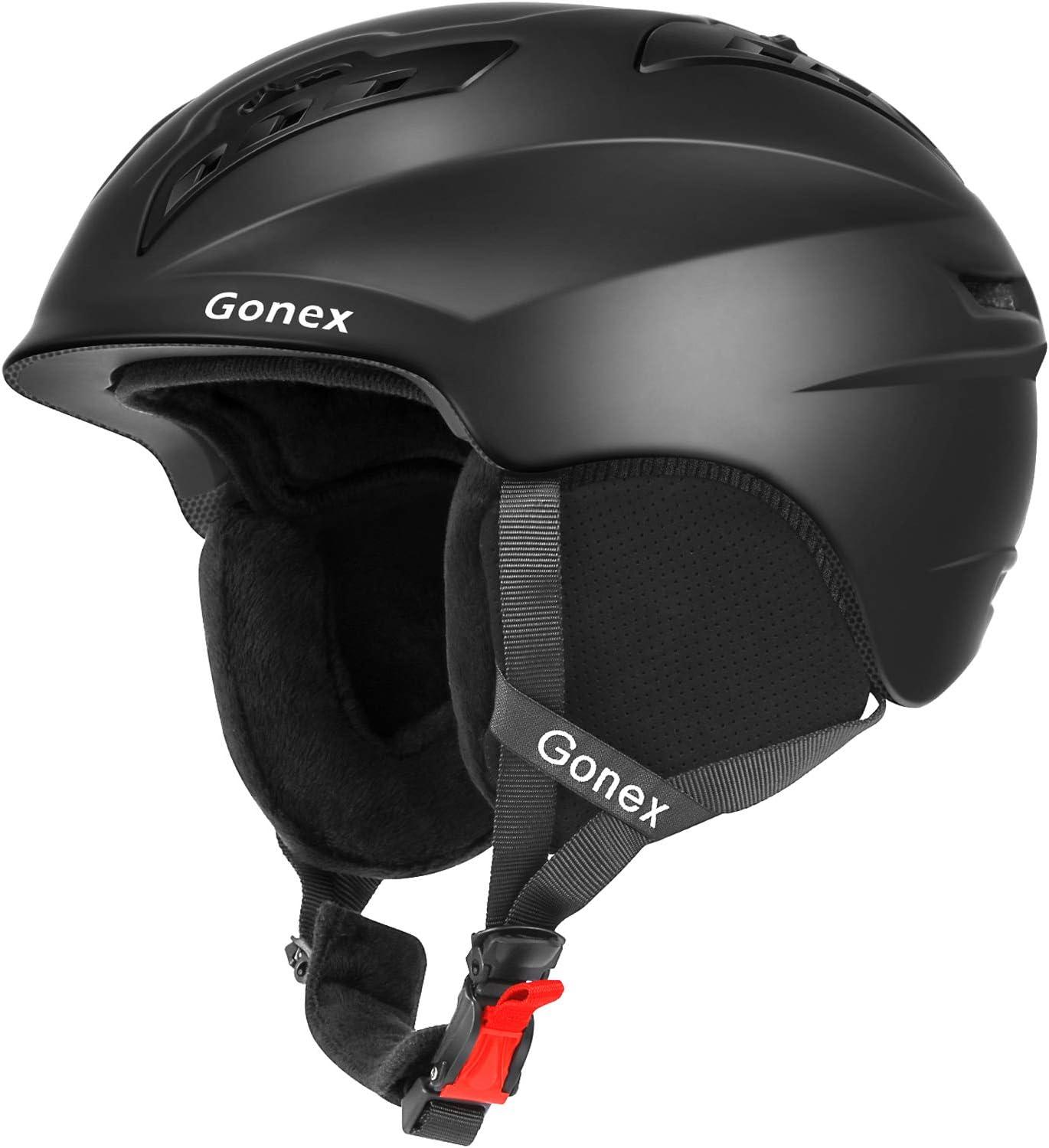 Gonex Ski Helmet, Winter Snow Snowboard Skiing Helmet with Safety Certificate for Men, Women Young, Matte Black White Gray Blue, M L Size