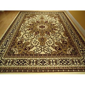 ivory persian style rug oriental rugs living room carpet area 5x8 rug persian 5x7. Black Bedroom Furniture Sets. Home Design Ideas