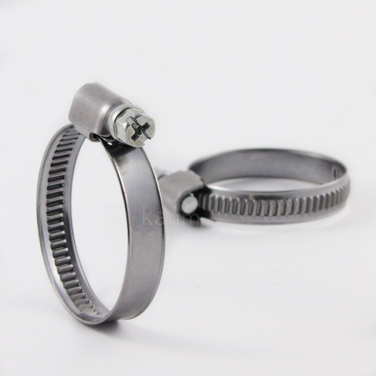10x Schlauchschelle Schlauchklemme Edelstahl W2 / 50-70mm / Bandbreite: 12mm / rostfrei Schlauchschellen Schneckengewinde kagm