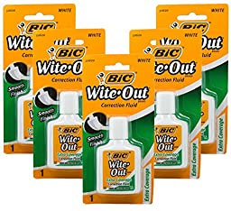 Bic Wite-Out Extra Coverage Correction Fluid-0.7 Ounces 5-PACKS (WOFECP1)