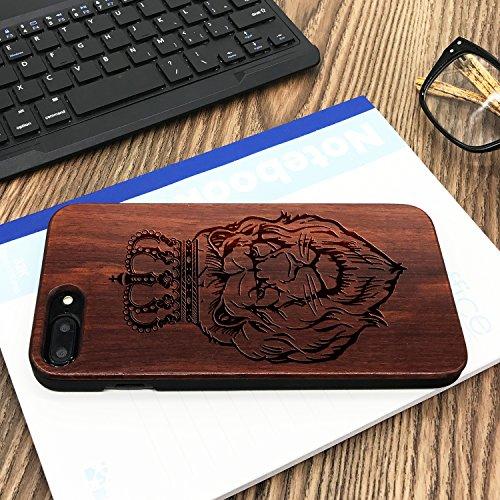 Funda Madera Tallada Protectora Cubierta para iPhone 7 Plus Natural Wood Caja de PC Vintage Bumper Protector Carcasa para Apple iPhone 7 Plus(5.5 inch) Rose-Lion