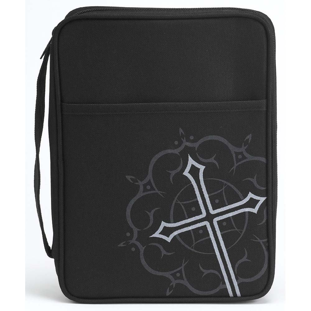 Black Medallion Cross and Pocket Large Nylon Bible Cover with Handle by Dicksons (Image #1)