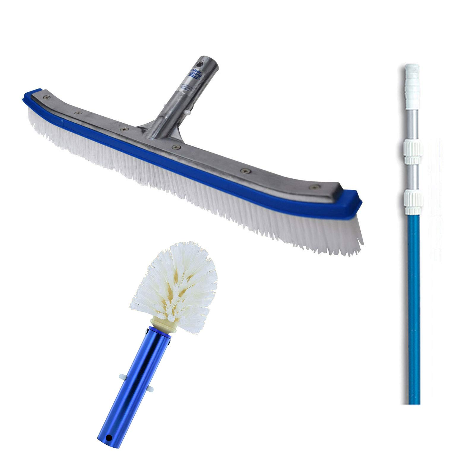 Blue Devil 18 Inch Pool Brush + 5 to 15 Foot Pole + Corner and Step Brush by Blue Devil