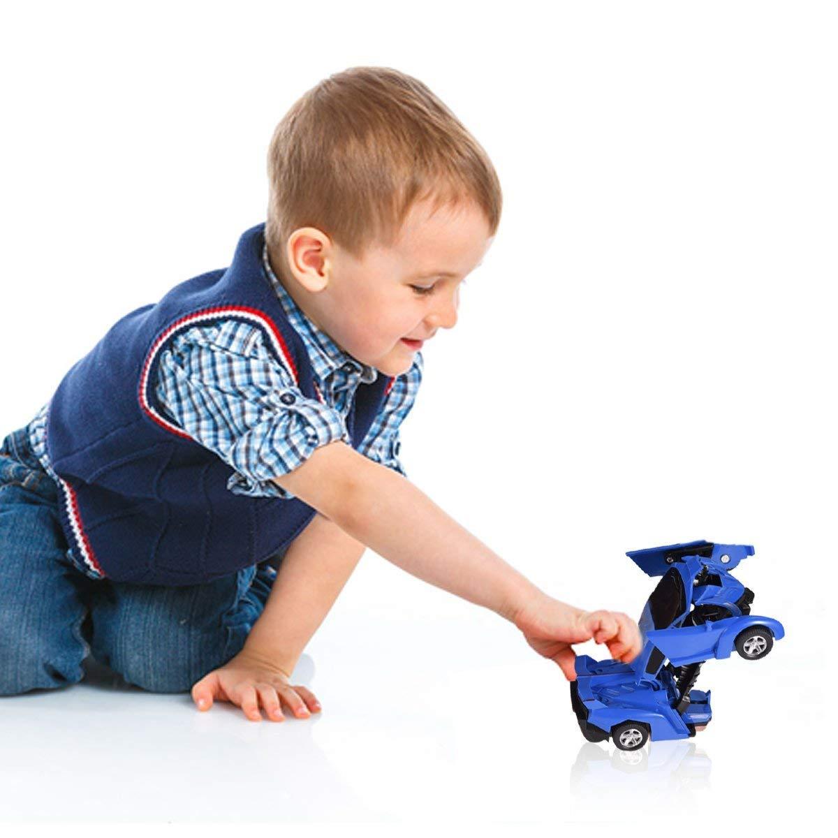 Cartoon Crash Deformation Transforming Robot Car Toy Kids Game Gift Electrical Safety (2pcs, Yellow&Blue) by Viedoct (Image #5)