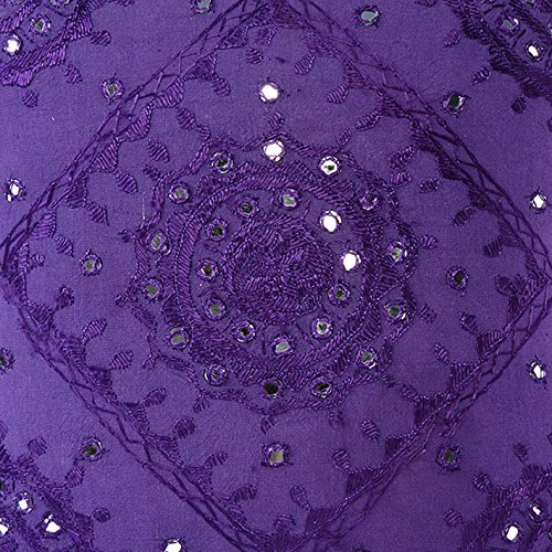 Eyes of India - 16'' Purple Mirror Embroidered Pillow Colorful Couch Cushion Cover Sofa Throw Boho Decorative Bohemian IndianCover Only