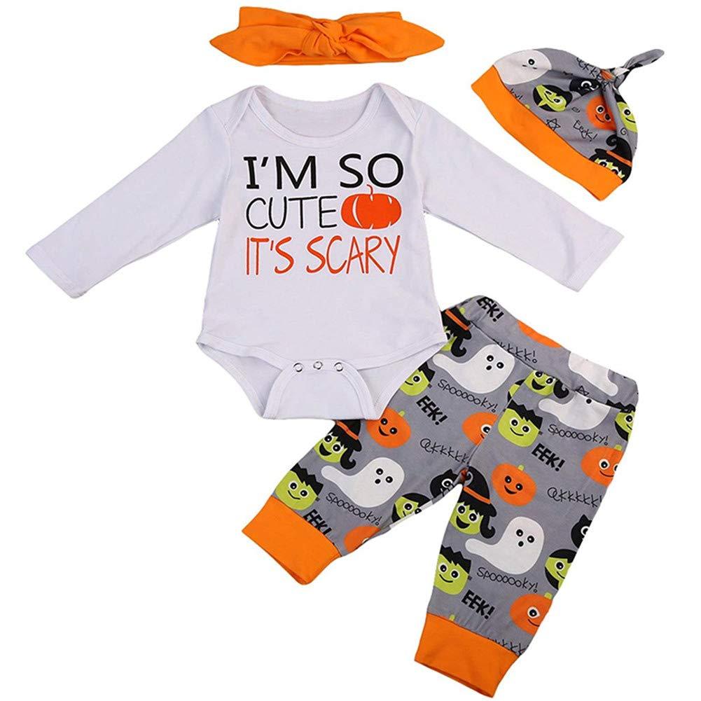 TOBABYFAT Newborn Halloween Clothes Baby Boy Girl Romper+Pant+Hat+Headband Outfit