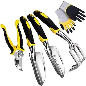 CNSSKJ 5 Piece Gardening Tools Set Including Transplanting Spade, Trowel, Cultivator, Pruner and Gardening Gloves, Garden Tools Kit with Heavy Duty Cast-Aluminium Heads & Ergonomic Handles#7314