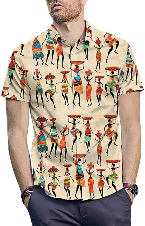 Camisa hawaiana de los hombres Camisa estampada estilo indio ...